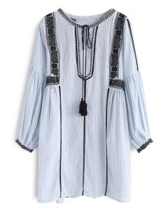 Eye-Catcher Boho Embroidered Dress in Blue Stripe