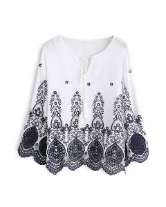 Secret Garden Embroidered Top in White