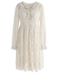 Stay Exquisite Full Lace Dress in Cream