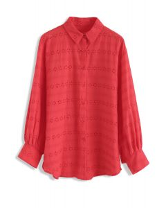 Floral Whisper Eyelet Embroidered Shirt in Red