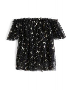 Stars Shining Out Mesh Off-Shoulder Tunic in Black For Kids