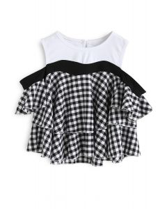It's Our Youth Cold-Shoulder Check Dolly Top For Kids
