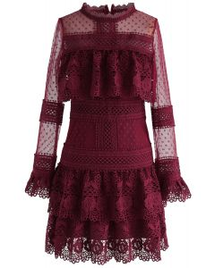 Sweet Destiny Tiered Crochet Mesh Dress in Wine