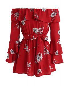 Enchanting Floral Off-Shoulder Playsuit in Red