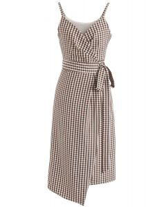 Destiny in Gingham Wrapped Cami Dress in Brown