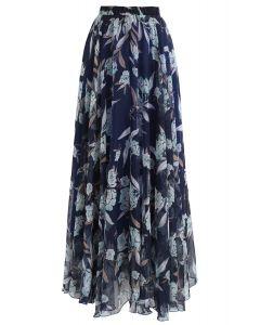 Flower Season Chiffon Maxi Skirt in Navy