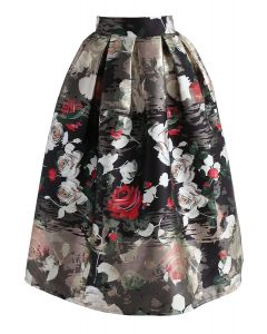 Vivid Rose Printed A-Line Midi Skirt in Black