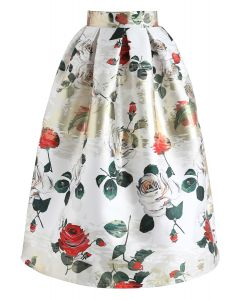 Vivid Rose Printed A-Line Midi Skirt in White
