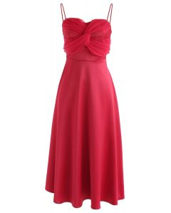 Silkiness Sweetheart Cami Dress in Red