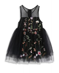 Lost in Flowering Fields Embroidered Mesh Dress in Black For Kids