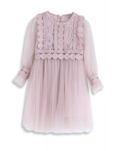 Delicate and Grace Lace Mesh Tulle Dress in Pink For Kids