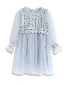 Delicate and Grace Lace Mesh Tulle Dress in Dusty Blue For Kids