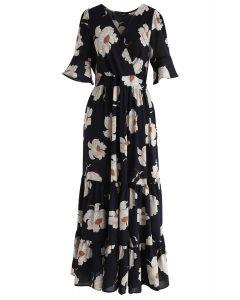 Gardenia Fairyland Wrapped Ruffle Chiffon Maxi Dress in Navy