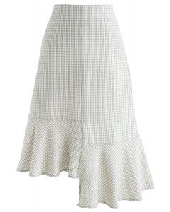 Sweet Gingham Frill Hem Pencil Skirt in Taupe
