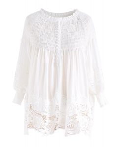 Desirable Shirring Top with Floral Crochet in White