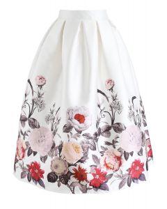 Full Blooming Flowers Printed A-Line Midi Skirt
