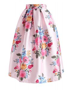 Compelling Bouquet Printed Midi Skirt in Pink