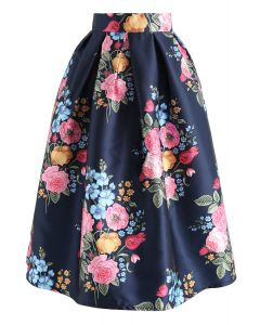 Compelling Bouquet Printed Midi Skirt in Navy