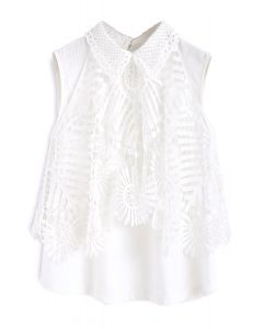 Sunflower Attack Crochet Cold-Shoulder Top in White