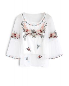 Lithe Floral Embroidered Mesh Top in White