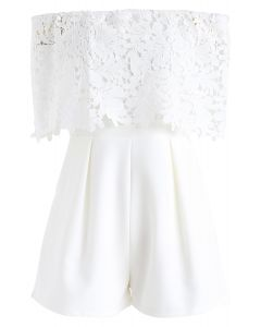 Summer Selected Off-Shoulder Playsuit in White