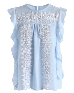 Crochet Reverie Sleeveless Top in Blue