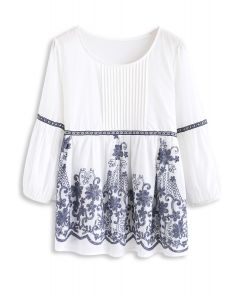 Boho Jauntiness Floral Embroidered Dolly Top