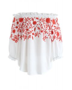 Lust for Love Off-Shoulder Embroidered Top in Red
