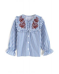 Harmonious Source Embroidered Top in Stripe For Kids