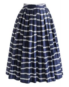 Horizontal Lines in Navy Sea Printed Midi Skirt