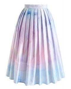 Hazy Town Watercolor Printed Midi Skirt
