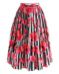 Hana Stripe Watercolor Printed Midi Skirt