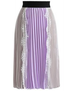 Beauteous Miracle Bi-Color Silky Pleated Skirt in Grey