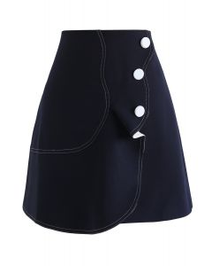 Subtle Wavy Flap Skirt in Navy