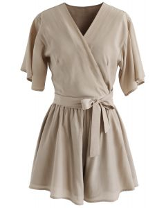 Keep It Casual Wrapped Top and Shorts Set in Light Tan