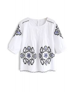 Burst into Bloom Embroidered Top in White