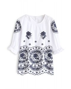 Lively Blossom Embroidered Top in White