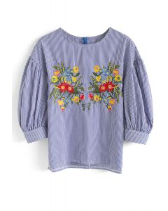Stripes in My Mind Floral Embroidered Top in Blue