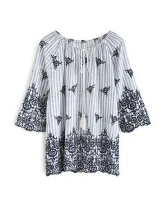 Gala for Bloom Embroidered Striped Top