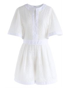 Almost Loveliness Embroidered Eyelet Playsuit in White