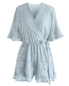 Ode to Floral Lace Playsuit in Dusty Blue