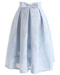 Rose Garden Bowknot Pleated Skirt in Blue