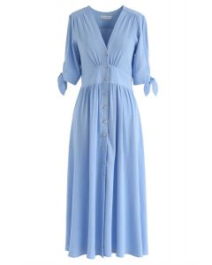 Summer Edition Button Down V-Neck Dress in Blue