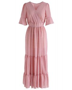 Raise Me Up Gingham Wrapped Dress in Pink