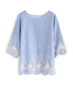 Day of Boho Style Embroidered Dolly Top