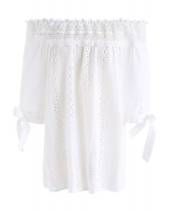 Flower Chain Crochet Off-Shoulder Top in White