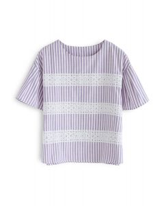 Good to Go Eyelet Embroidered Stripes Top in Purple