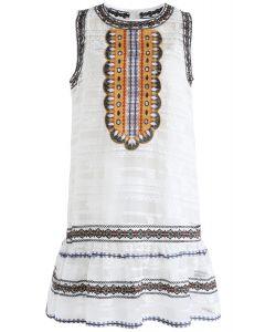 Boho in Summer Embroidered Sleeveless Dress in White