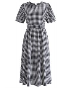 Something to Tell Gingham Dress in Black