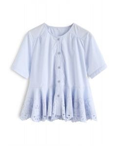 Love Lotus Embroidered Flare Top in Blue